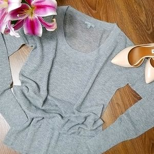 James Perse Grey Perforated Sweater, Size 2 (Med)